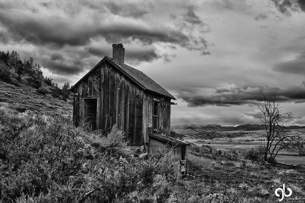 This old homestead is on the western range of the Beartooth Mountains.