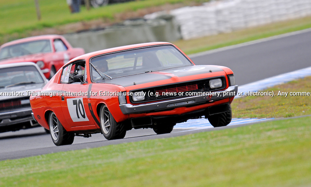 Rob Burns - Chrysler Valiant Charger.Historic Motorsport Racing - Phillip Island Classic.18th March 2011.Phillip Island Racetrack, Phillip Island, Victoria.(C) Joel Strickland Photographics.Use information: This image is intended for Editorial use only (e.g. news or commentary, print or electronic). Any commercial or promotional use requires additional clearance.