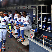 NEW YORK, NEW YORK - MAY 04:  Yoenis Cespedes #52 of the New York Mets in the dugout preparing to bat during the Atlanta Braves Vs New York Mets MLB regular season game at Citi Field on May 04, 2016 in New York City. (Photo by Tim Clayton/Corbis via Getty Images)