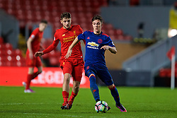 LIVERPOOL, ENGLAND - Monday, January 16, 2017: Liverpool's Jake Brimmer in action against Manchester United's Josh Harrop during FA Premier League 2 Division 1 Under-23 match at Anfield. (Pic by David Rawcliffe/Propaganda)