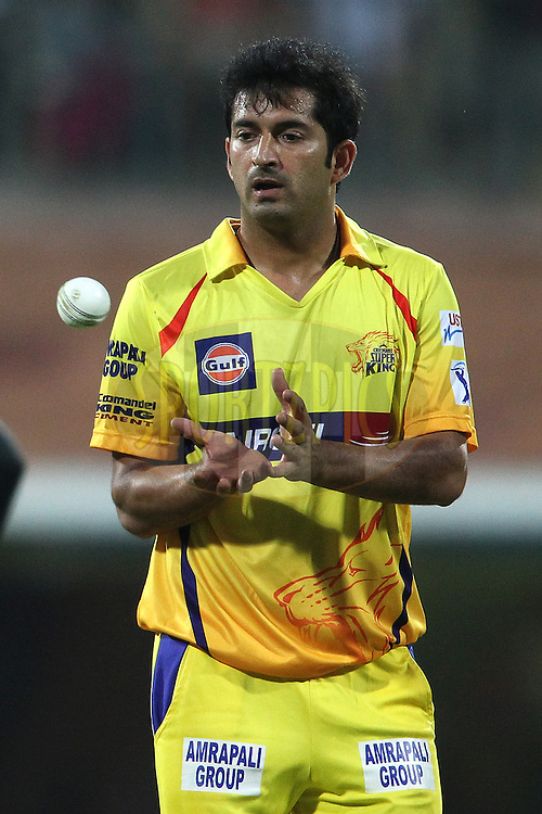 Mohit Sharma of Chennai Super Kings during match 37 of the Pepsi IPL 2015 (Indian Premier League) between The Chennai Superkings and The Royal Challengers Bangalore held at the M. A. Chidambaram Stadium, Chennai Stadium in Chennai, India on the 4th May April 2015.<br /> <br /> Photo by:  Shaun Roy / SPORTZPICS / IPL
