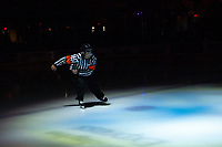 KELOWNA, CANADA - OCTOBER 5: Referee Chris Crich enters the ice at the Kelowna Rockets against the Victoria Royals  on October 5, 2018 at Prospera Place in Kelowna, British Columbia, Canada.  (Photo by Marissa Baecker/Shoot the Breeze)  *** Local Caption ***