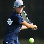 UNCW's Alyssa Ritchie returns a serve against Virginia Tech Saturday September 13, 2014 at UNCW. (Jason A. Frizzelle)