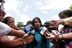 May 19, 2017 - Valencia, Carabobo, Venezuela - Deputy DELSA SOLORZANO (front) talks with the journalists on her arrival at the street parliamentarian meeting, where they discussed points of the political situation of the country. The event was held in the urbanization of the wheat field of Valencia, Carabobo state. (Credit Image: © Juan Carlos Hernandez via ZUMA Wire)