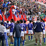 Manu Samoa honors its fans after defeating Fiji 36-31 in the consolation game at the USA Sevens Rugby at Sam Boyd Stadium, Las Vegas, Nevada, USA.  Photo by Barry Markowitz, 2/10/13.
