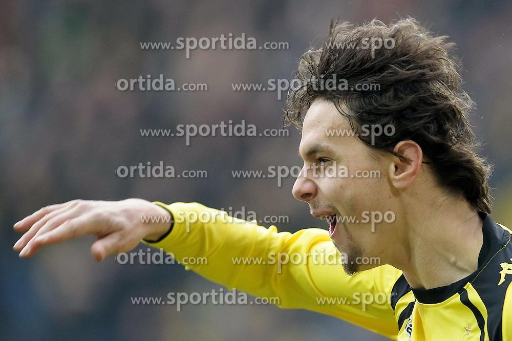 20.02.2010, Signal Iduna Park, Dortmund, GER, 1.FBL 09 10, Borussia Dortmund vs Hannover 96, im Bild 1:0  Neven Subotic  ( Dortmund  #04 ) Jubel, EXPA Pictures © 2010 for Austria only, Photographer EXPA / NPH / Kokenge / for Slovenia SPORTIDA PHOTO AGENCY.