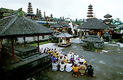 Hindu ceremony at Pura Besakih, Bali's holiest temple at the slopes of Gunung Agung, the island's highest mountain and active volcano.