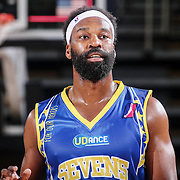 Delaware 87ers Guard BARON DAVIS (34) walks on to the floor in the first half of a NBA D-league regular season basketball game between the Delaware 87ers and the Iowa Energy Friday, Mar. 04, 2016. at The Bob Carpenter Sports Convocation Center in Newark, DEL.