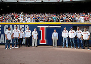 ATLANTA, GA - OCTOBER 2:  Members of the All Turner Field Team, along with team president John Schuerholz, pause before taking down the last Home Games Remaining number during the game between the Detroit Tigers and the Atlanta Braves at Turner Field on Sunday, October 2, 2016 in Atlanta, Georgia. (Photo by Mike Zarrilli/MLB Photos via Getty Images) *** Local Caption ***