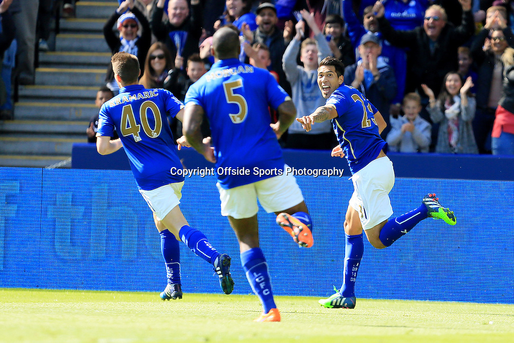 18th April 2015 - Barclays Premier League - Leicester City v Swansea - Leonardo Ulloa of Leicester City wheels away after opening the scoring (1-0)  - Photo: Paul Roberts / Offside.