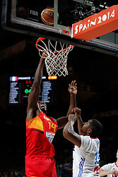 10.09.2014, Palacio de los deportes, Madrid, ESP, FIBA WM, Frankreich vs Spanien, Viertelfinale, im Bild Spain´s Ibaka (L) and France´s Diaw // during FIBA Basketball World Cup Spain 2014 Quarter-Final match between France and Spain at the Palacio de los deportes in Madrid, Spain on 2014/09/10. EXPA Pictures © 2014, PhotoCredit: EXPA/ Alterphotos/ Victor Blanco<br /> <br /> *****ATTENTION - OUT of ESP, SUI*****