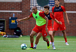 ANN ARBOR, USA - Friday, July 27, 2018: Liverpool's Fabio Henrique Tavares 'Fabinho' and Pedro Chirivella during a training session ahead of the preseason International Champions Cup match between Manchester United FC and Liverpool FC at the Michigan Stadium. (Pic by David Rawcliffe/Propaganda)