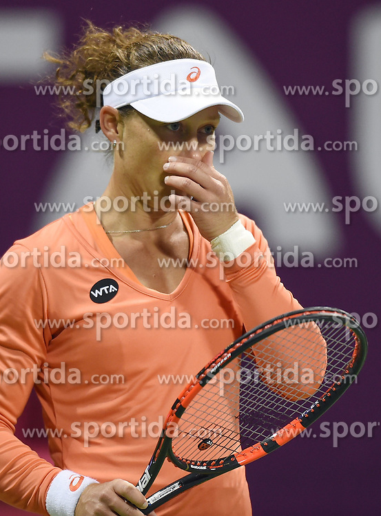Samantha Stosur of Australia reacts during the first round match against Lucie Safarova of the Czech Republic in the WTA Qatar Open tennis tournament in Doha, Qatar, Feb. 23, 2015. Samantha Stosur lost 0-2. EXPA Pictures &copy; 2015, PhotoCredit: EXPA/ Photoshot/ Chen Shaojin<br /> <br /> *****ATTENTION - for AUT, SLO, CRO, SRB, BIH, MAZ only*****