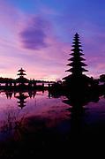 Pura Ulan Danu Bratan, famous Hindu/Buddhist temple at Lake Bratan, at dawn.
