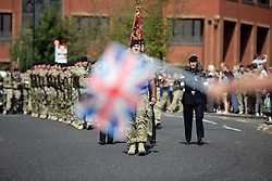 © London News Pictures. 01/09/11. MAIDSTONE. UK. Around 300 soldiers from the 2nd Royal Tank Regiment return to Maidstone having been on active duty in Helmand Province, Afghanistan.The parade comes on the day when nearly 2,000 RAF and Army personnel find out whether they have lost their jobs. In total up to 51 Kent-based soldiers will be made redundant. Picture credit should read Manu Palomeque/London News Pictures