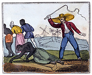 The Exhausted Slave Whipped. 'But woe to all, both old and young,/Women and men, or strong or weak,/Worn out or fresh, those gangs among, That dare the toilsome line to break!' From Ameilia Opie 'The Black Man's Lament; or How to Make Sugar', London, 1826.