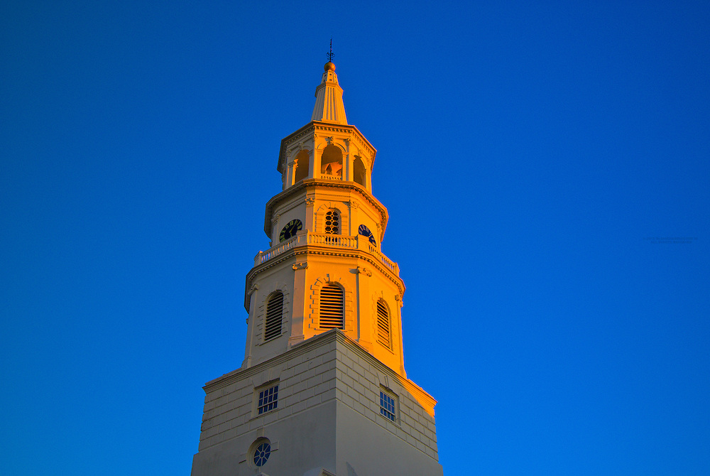 Steeple above St. Michael's Episcopal Church in the Historic District of Charleston, South Carolina