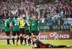 Players of Rudar complains to referees during football match between NK Rudar and NK Olimpija Ljubljana in Round #35 of Prva liga Telekom Slovenije 2015/16, on May 14, 2016, in Stadium Ob jezeru, Velenje, Slovenia. NK Olimpija with this victory became Slovenian National Champion 2016. Photo by Vid Ponikvar / Sportida