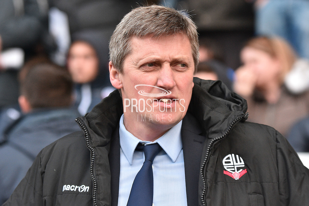 Bolton Wanderers Interim manager, Jimmy Phillips during the Sky Bet Championship match between Bolton Wanderers and Middlesbrough at the Macron Stadium, Bolton, England on 16 April 2016. Photo by Mark Pollitt.