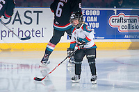 KELOWNA, CANADA - OCTOBER 26: The Pepsi Save on Foods Player of the Game warms up with the Kelowna Rockets on October 26, 2016 at Prospera Place in Kelowna, British Columbia, Canada.  (Photo by Marissa Baecker/Shoot the Breeze)  *** Local Caption ***