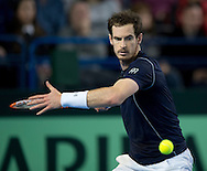 Andy Murray of Great Britain returns against Kei Nishikori of Japan during the Davis Cup match by BNP Paribas between Great Britain and Japan at the National Indoor Arena, Birmingham.<br /> Picture by Russell Hart/Focus Images Ltd 07791 688 420<br /> 06/03/2016