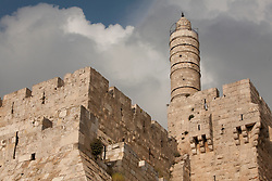 Middle East, Israel, Jerusalem, Tower of David and stone walls around historic city