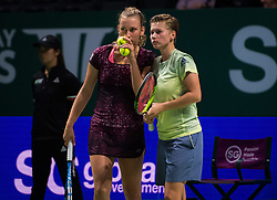 October 26, 2018 - Kallang, SINGAPORE - Demi Schuurs of the Netherlands & Elise Mertens of Belgium in action during their doubles quarterfinal at the 2018 WTA Finals tennis tournament (Credit Image: © AFP7 via ZUMA Wire)