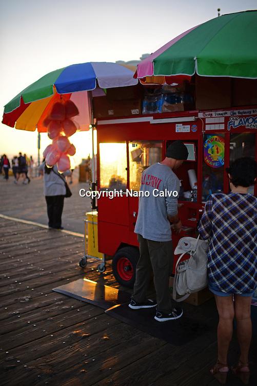 Santa Monica pier at sunset, Los Angeles.