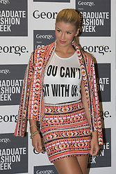 © Licensed to London News Pictures. 03/06/2014. London, England. Model Amy Willerton. Celebrity arrivals for the Awards Show at Graduate Fashion Week 2014, Old Truman Brewery in London, United Kingdom. Photo credit: Bettina Strenske/LNP