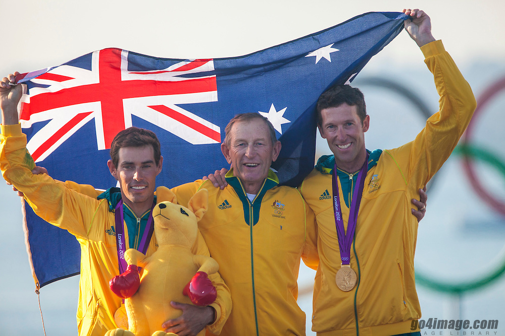 GOLD:<br /> Belcher Mathew, Page Malcolm, (AUS, 470 Men)<br /> With coach Victor Kovalenko<br /> 2012 Olympic Games <br /> London / Weymouth