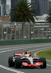 Melbourne. Australia - Friday, March 16, 2007: Lewis Hamilton (GBR, Vodafone McLaren Mercedes) during practice before opening Grand Prix of the Formula One World Championship in Australia.(Pic by Michael Kunkel/Propaganda/Hoch Zwei)