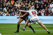 Ospreys outside half Dan Biggar offloads during the Guinness Pro 12 2017 Round 21 match between Ospreys and Ulster at the Liberty Stadium, Swansea, Wales on 29 April 2017. Photo by Andrew Lewis.
