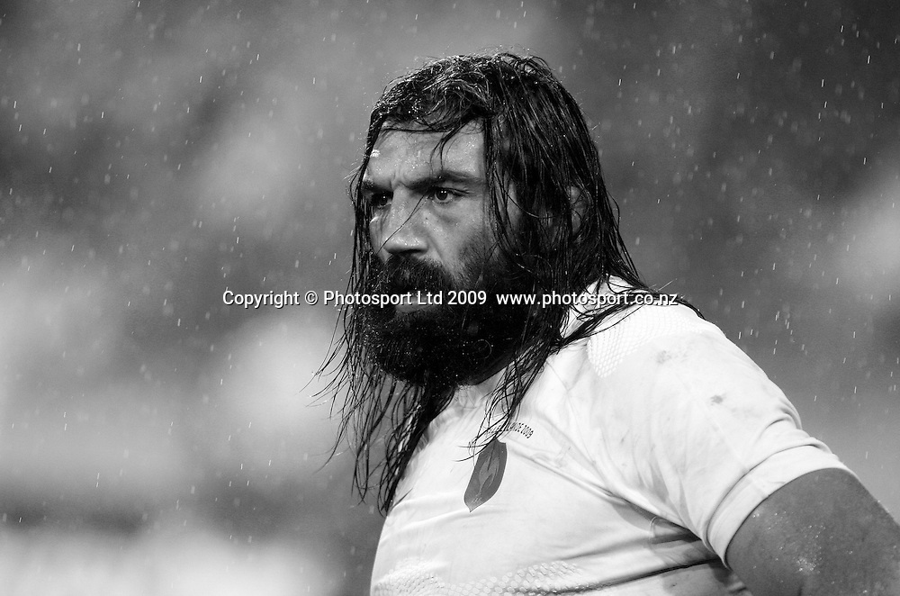 French player Sebastien Chabal stands in the Wellington rain. 2nd international rugby union test match, All Blacks v France. Iveco Test Series, Wellington, New Zealand. Saturday 20 June 2009. Photo: Simon Watts/PHOTOSPORT