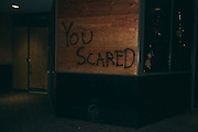 You Scared Graffitied on a boarded up business. Oakland, CA 2014
