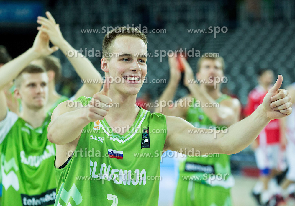 Klemen Prepelic of Slovenia celebrates after winning during basketball match between Slovenia and Georgia at Day 2 in Group C of FIBA Europe Eurobasket 2015, on September 6, 2015, in Arena Zagreb, Croatia. Photo by Vid Ponikvar / Sportida