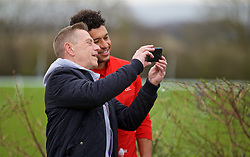 DERBY, ENGLAND - Friday, March 8, 2019: Liverpool's Alex Oxlade-Chamberlain poses for a selfie with a supporter before the FA Premier League 2 Division 1 match between Derby County FC Under-23's and Liverpool FC Under-23's at the Derby County FC Training Centre. (Pic by David Rawcliffe/Propaganda)
