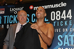 © Licensed to London News Pictures. 15/11/2013<br /> James Degale <br /> WBC Silver World Title fight weigh-in (Today 15.11.2013) between<br /> James Degale  (Orange Shorts) V  Dyah Davis (Black Shorts) <br /> Fight night at Bluewater,Kent, Glow  Arena Kent on (Saturday 16th November)<br /> Photo credit :Grant Falvey/LNP
