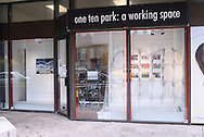 """Canada, Ontario. Windsor, 2016.  Almost completed installation of """"After Work"""" window displays at one ten park studio. """"After Work"""" is a migrant workers project by Collette Broeders and Douglas MacLellan."""