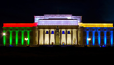 Auckland - Museum illuminated in South African Flag Colours