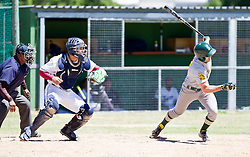 Kyle Botha of the Bothasig Knights hits a fly ball to left field during the Major league game between the Knights and the Bellville Tygers held at the Tygers' home ground at the PP Smit stadium in Bellville on 23 October 2016. Photo by John Tee/RealTime Images.