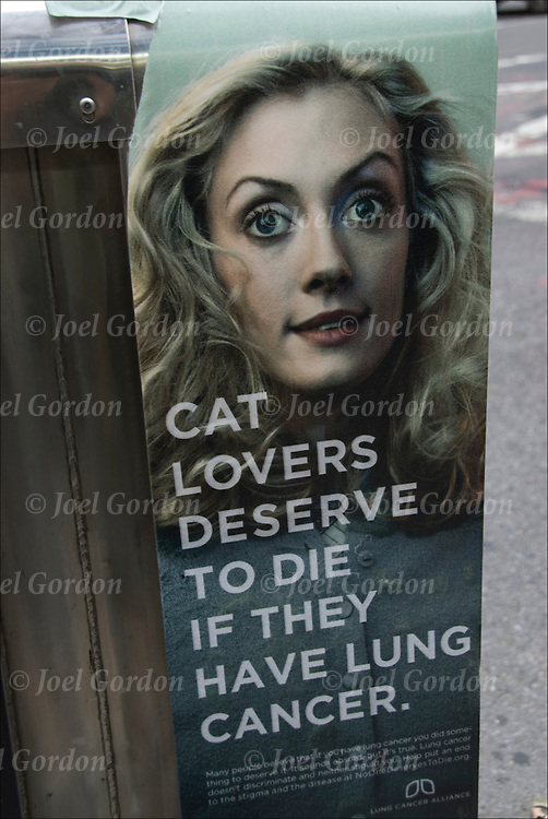 "Advertising copy ""Cat Lovers Deserve To Die If They Have Lung Cancer"". Offensive, obnoxious, and shocking ad copy that makes the viewer stop and read about lung cancer."