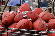 Official game balls for the NFL football Super Bowl XLIX wait for final inspection at the Wilson Sporting Goods Co. in Ada, Ohio, Tuesday, Jan. 20, 2015. The New England Patriots will play the Seattle Seahawks in the Super Bowl on Feb. 1 in Glendale, Arizona. (AP Photo/Rick Osentoski)