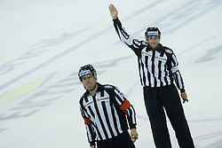 12.10.2012. Hala Tivoli, Ljubljana, SLO, EBEL, HDD Telemach Olimpija Ljubljana vs SAPA Fehérvár AV 19, 11. Runde, in picture referee and linesman during the Erste Bank Ice hockey League 11th Round match between HDD Telemach Olimpija Ljubljana and SAPA Fehérvár AV 19 at the Hala Tivoli, Ljubljana, Slovenia on 2012/10/12. Telemach Olimpija Ljubljana defeated SAPA Fehérvár AV 19, 4-2 (Photo By Grega Valancic / Sportida)