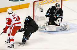 May 8, 2011; San Jose, CA, USA; San Jose Sharks goalie Antti Niemi (31) makes a save against the Detroit Red Wings during the first period of game five of the western conference semifinals of the 2011 Stanley Cup playoffs at HP Pavilion. Mandatory Credit: Jason O. Watson / US PRESSWIRE