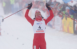 Winner Marit Bjoergen of Norway celebrates after final sprint at Ladies 1.4 km Free Sprint Competition of Viessmann Cross Country FIS World Cup Rogla 2009, on December 19, 2009, in Rogla, Slovenia. (Photo by Vid Ponikvar / Sportida)