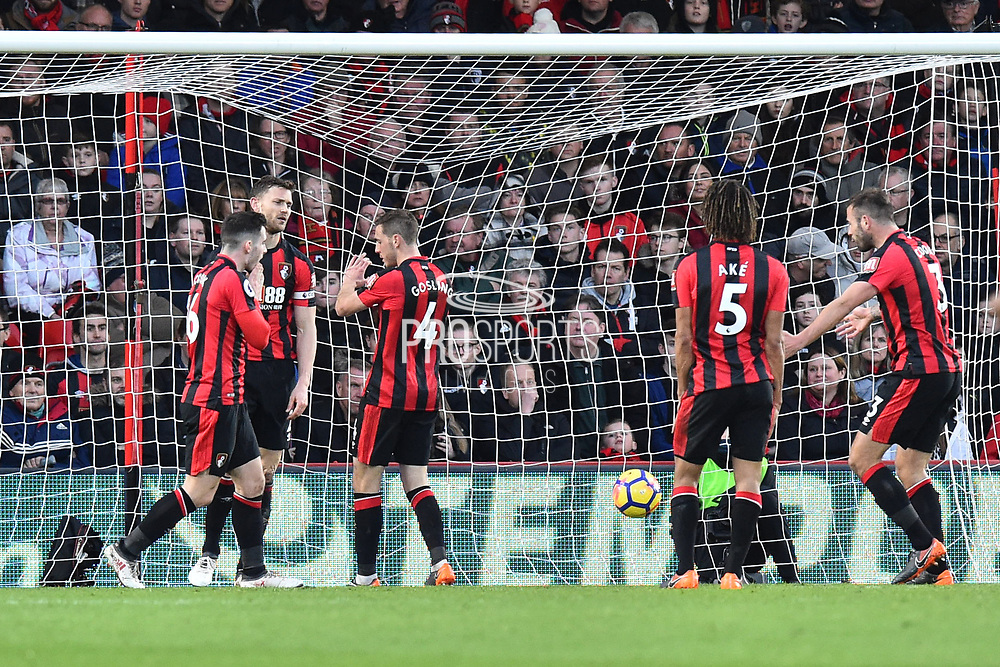 Goal - The Bournemouth players look dejected after Heung-Min Son (7) of Tottenham Hotspur scored a goal to make the score 1-3 during the Premier League match between Bournemouth and Tottenham Hotspur at the Vitality Stadium, Bournemouth, England on 11 March 2018. Picture by Graham Hunt.