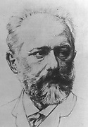 Peter Ilich Tchaikovsky (1840-1893) Russian composer. Head-and-shoulders sketch. Portrait Music Romantic Musician