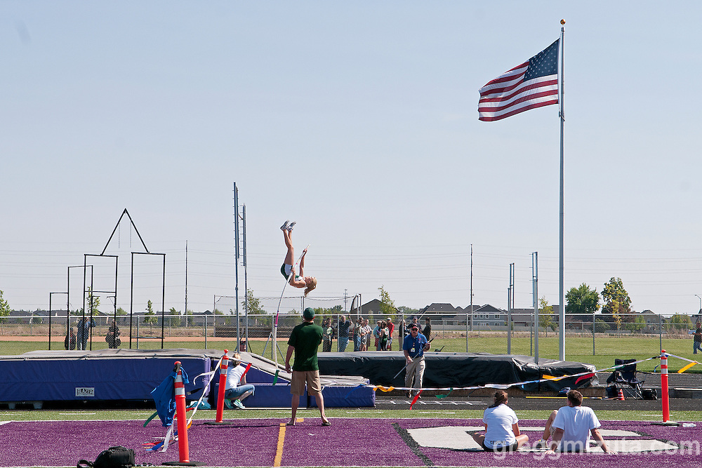 Eagle junior Allison Jeffries vaults during the 5A Idaho Track and Field Championships on May 18, 2012 at Rocky Mountain High School, Meridian, Idaho. Jeffries defending the state title with a vault of 12-00.