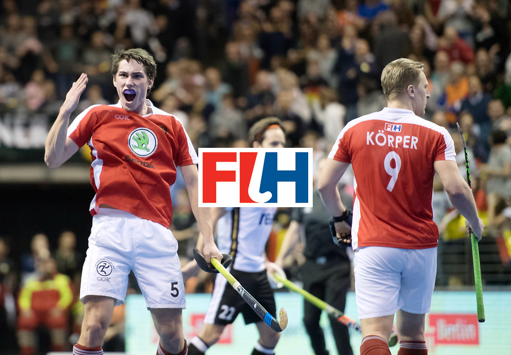 BERLIN - Indoor Hockey World Cup<br /> Final: Germany - Austria<br /> foto: Sebastian Eitenberger and Michael K&ouml;rper <br /> WORLDSPORTPICS COPYRIGHT FRANK UIJLENBROEK