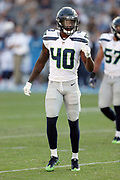 Seattle Seahawks rookie defensive back Mike Tyson (40) looks on during the 2017 NFL week 1 preseason football game against the against the Los Angeles Chargers, Sunday, Aug. 13, 2017 in Carson, Calif. The Seahawks won the game 48-17. (©Paul Anthony Spinelli)